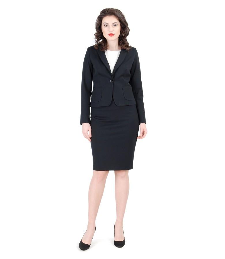 Black elastic jersey office women suit