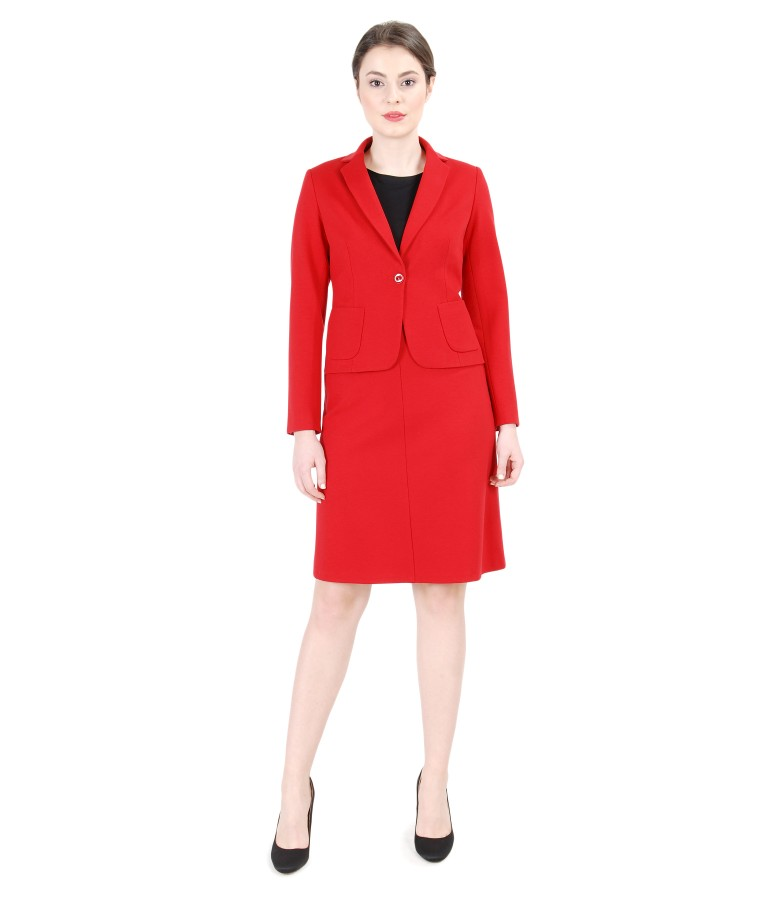 Red elastic jersey women office suit