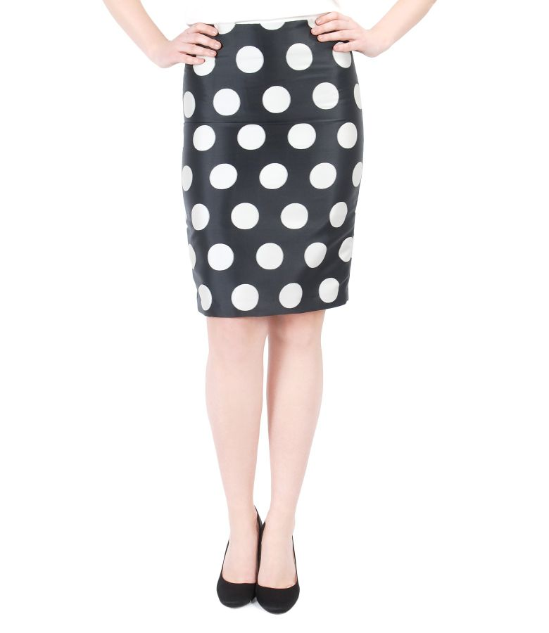 Pencil skirt with dots and zipper slit