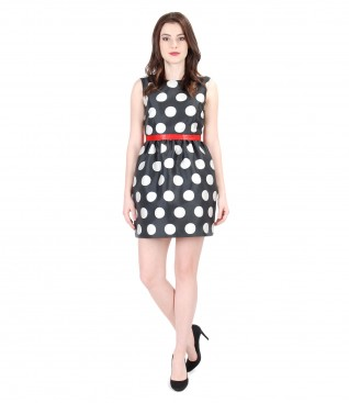 Flaring dress with dots and red belt
