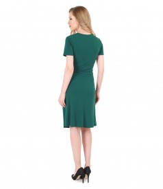 Green jersey dress with clasp