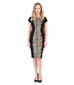 Short elastic velvet evening dress with inserts