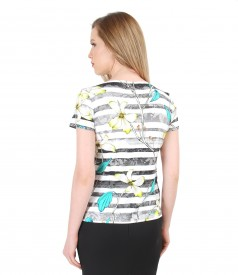 Elastic jersey t-shirt with floral print