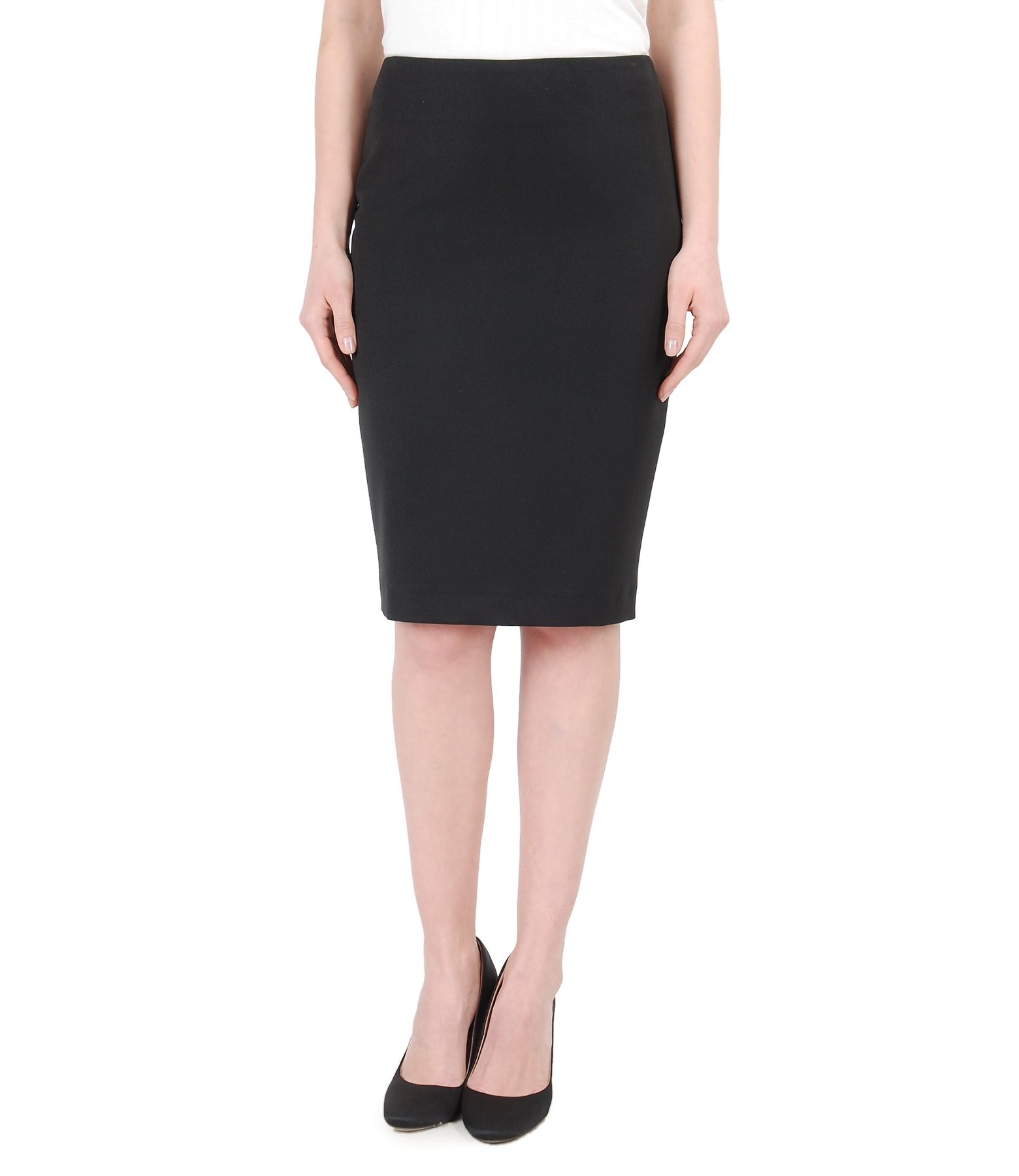 office skirt with slip zipper and faux leather trim black