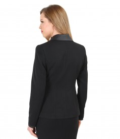 Office jacket with pockets and faux leather trim