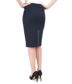Office skirt with slip zipper and faux leather trim