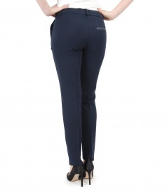 Elastic fabric pants with faux leather trim
