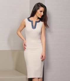 Elastic fabric dress with faux leather trim
