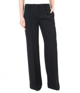 Flared pants with cuffs