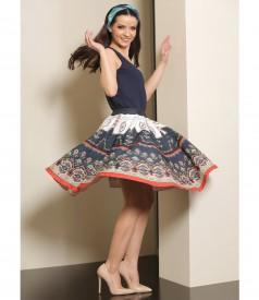 Printed brocade flared skirt