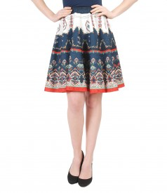 Printed brocade flared skirt