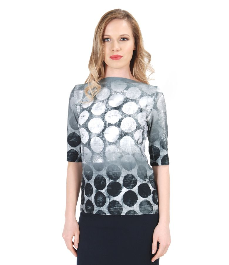 Elastic jersey t-shirt with dots print