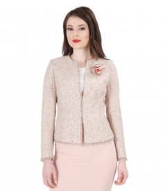 Multicolored loops cotton jacket with trim