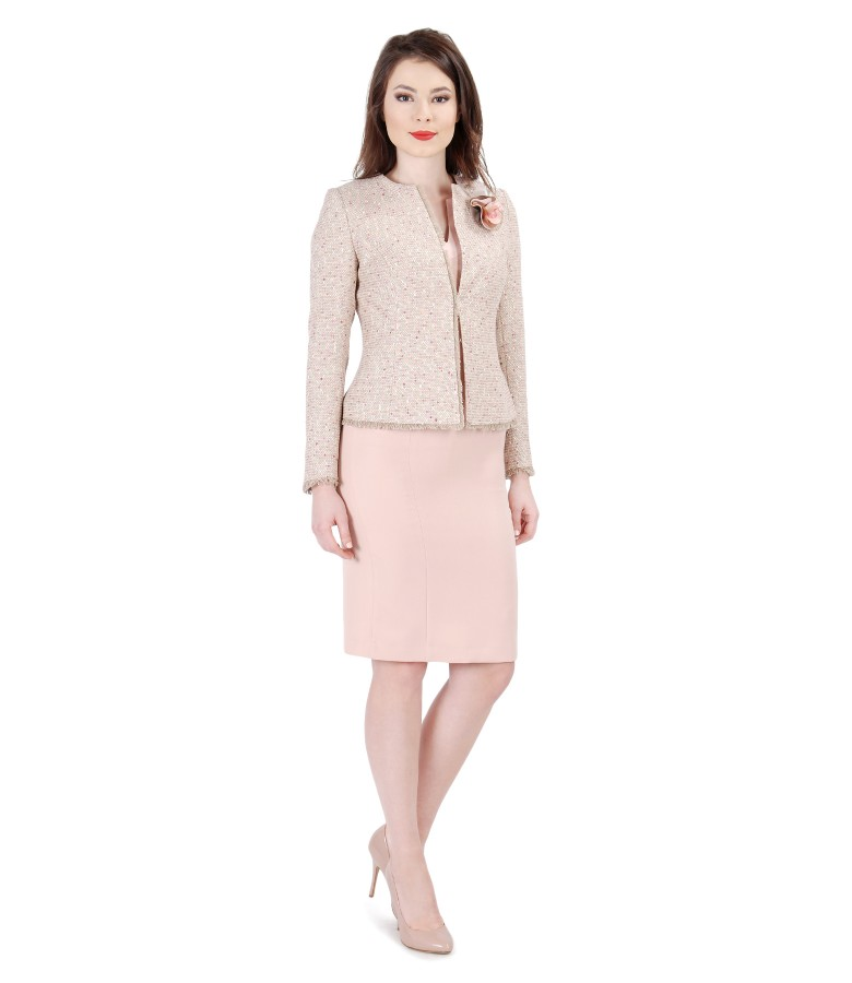 Office outfit with jacket with pink cotton loops and dress