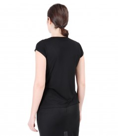 Elastic jersey t-shirt with slits
