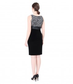 Elegant brocade dress with velvet motif