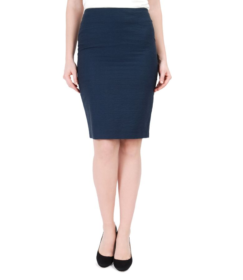 Office Cotton Tapered Skirt With Zipper