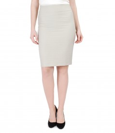 Office cotton tapered skirt with slit zipper