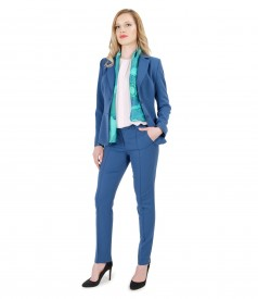 Women office suit with pockets and organic leather trim