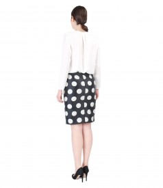 Veil blouse with puffed sleeves and skirt with dots