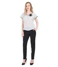 Elastic jersey blouse with printed front and pants outfit