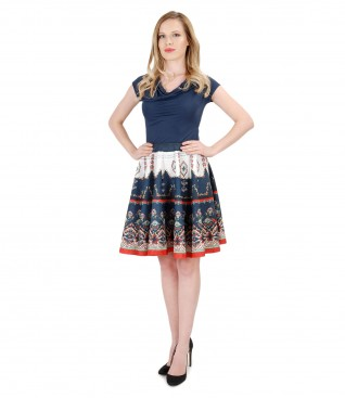 Elastic jersey t-shirt with printed brocade flared skirt