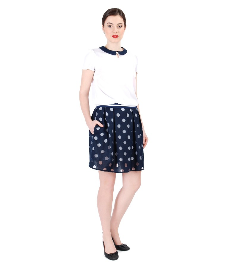 Lace flaring skirt with dots with veil blouse