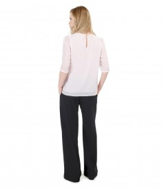 Casual outfit with veil blouse with large pants with cuffs edge