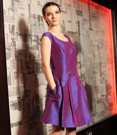 Silk taffeta flaring evening dress