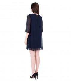 Veil evening dress with trim