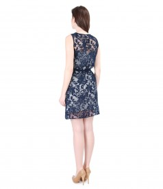 Brocade organza dress with viscose motifs and belt