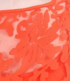 Brocade organza dress with viscose motifs and belt