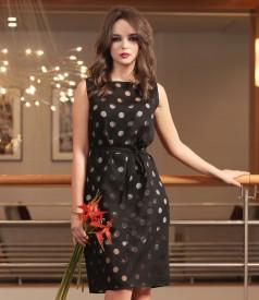 Viscose dress with organza lace corner and belt
