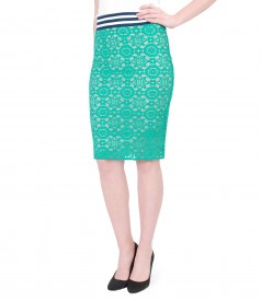 Elastic lace pencil skirt