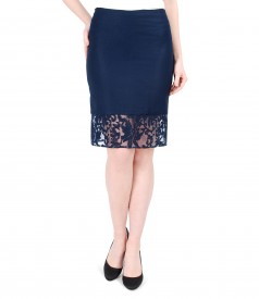 Elegant viscose and flax skirt with brocade trim