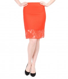 Elegant viscose and flax skirt with brocade trim