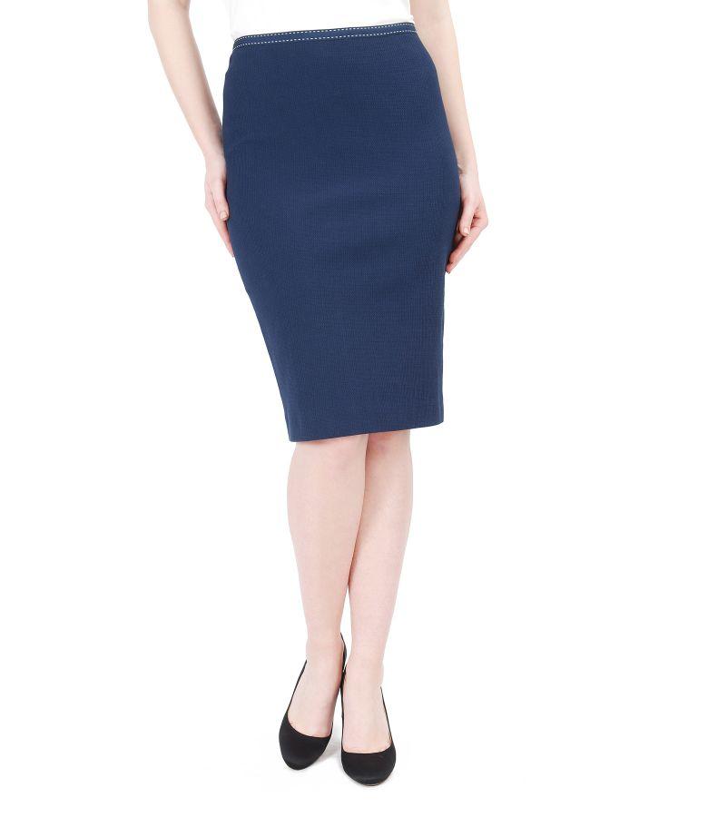 Elastic cotton office skirt
