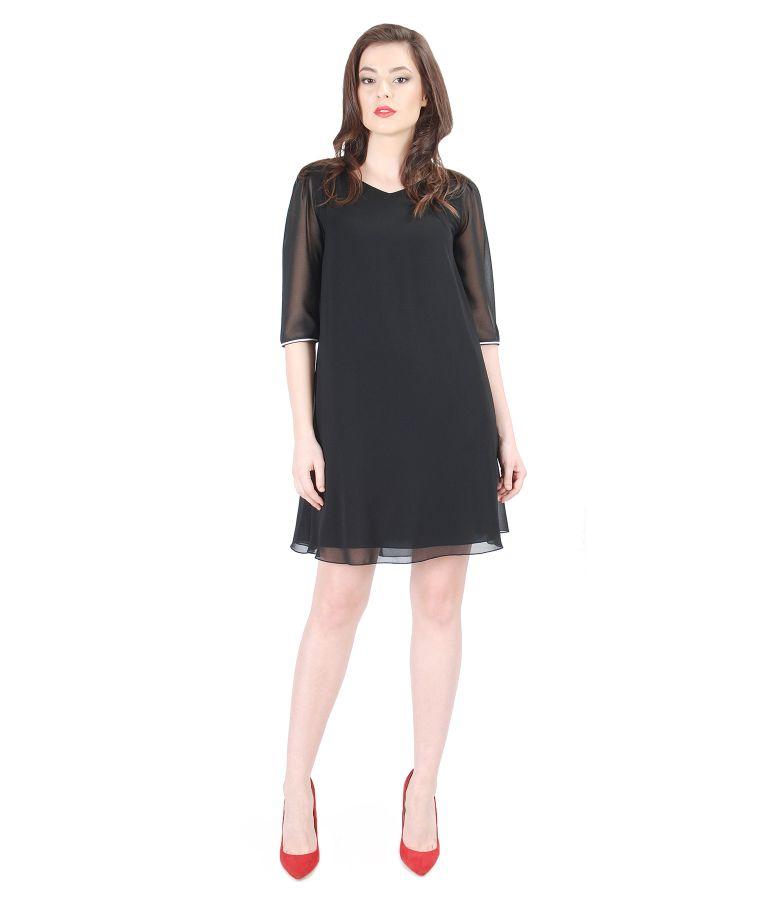 Elegant veil dress with trim