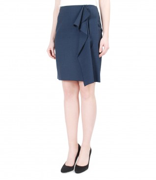 Viscose and cotton skirt with frill