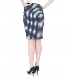 Embossed cotton fabric pencil skirt with dots and slit with zipper