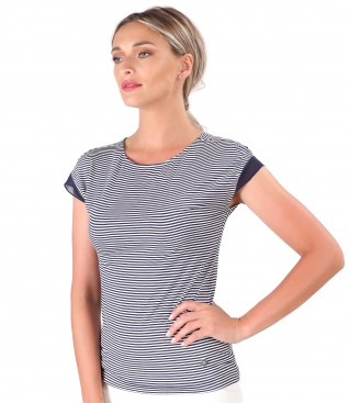 Printed elastic jersey t-shirt with trim