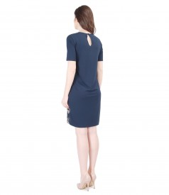 Elastic jersey dress with printed satin front