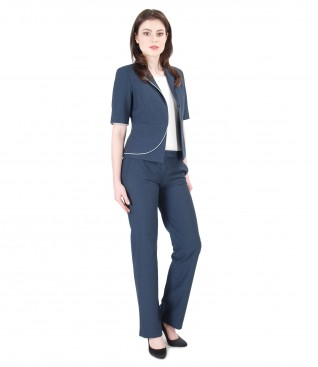 Cotton and viscose office women suit with trim
