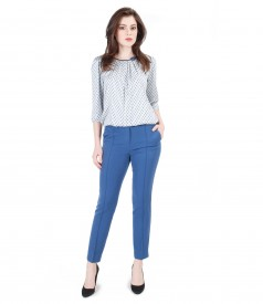 Casual outfit with printed viscose blouse and pants