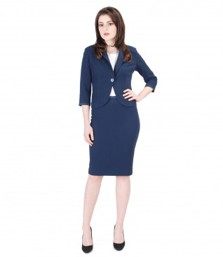 Embossed elastic cotton office women suit