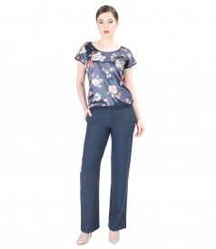 Casual outfit with printed satin front blouse