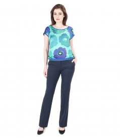 Blouse with printed satin front with pants