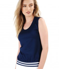 Uni jersey blouse with trim