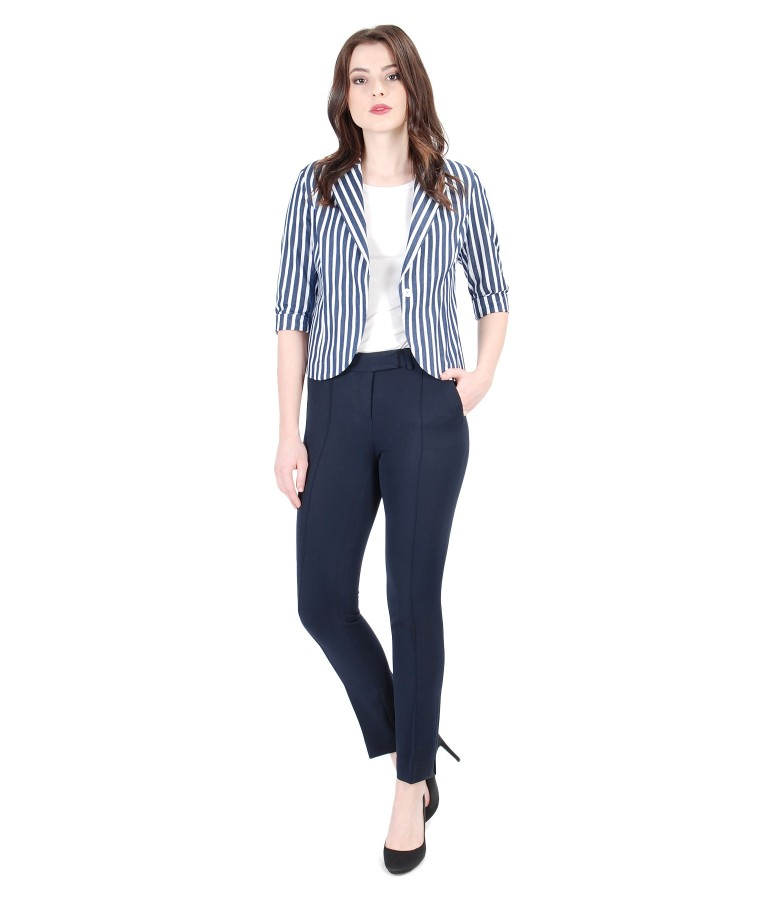 Women outfit with elastic cotton jacket with stripes