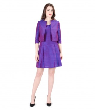 Elegant outfit with taffeta silk evening dress